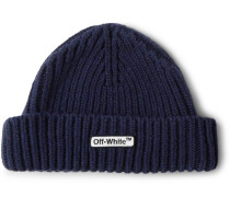 Logo-appliquéd Ribbed Wool-blend Beanie - Navy