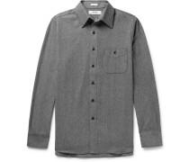 Herringbone Cotton-flannel Shirt - Gray