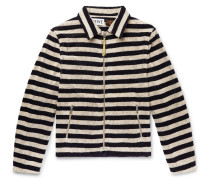 + Paula's Ibiza Appliquéd Striped Cotton-terry Zip-up Sweatshirt - Ecru