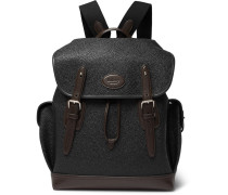 Heritage Leather-trimmed Pebble-grain Coated-canvas Backpack - Black
