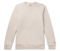 Chase Logo-embroidered Fleece-back Cotton-blend Jersey Sweatshirt - Beige