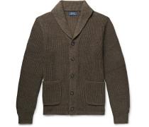 Shawl-collar Ribbed Mélange Cotton Cardigan - Army green