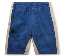 Two-tone Cotton-twill Drawstring Shorts - Blue