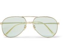 Aviator-style Gold-tone Sunglasses