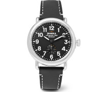 The Runwell 41mm Stainless Steel And Leather Watch - Black