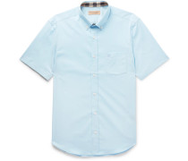 Button-down Collar Stretch-cotton Poplin Shirt - Blue
