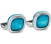 Sterling Silver, Apatite and Enamel Cufflinks
