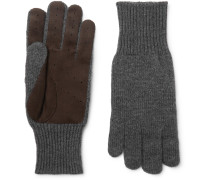 Perforated Suede-panelled Cashmere Gloves