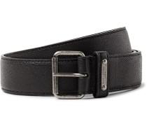 3cm Black Pebble-grain Leather Belt