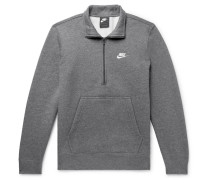 Sportswear Mélange Fleece-back Cotton-blend Half-zip Sweatshirt - Gray