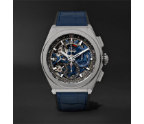 Defy El Primero 21 Chronograph 44mm Brushed-titanium, Alligator And Rubber Watch