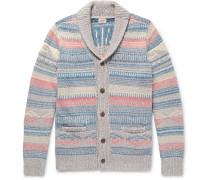 Sun & Wave Slim-fit Shawl-collar Cotton-blend Cardigan