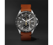 Clifton Club Indian Legend Tribute Scout Chronograph 44mm Stainless Steel And Leather Watch - Anthracite