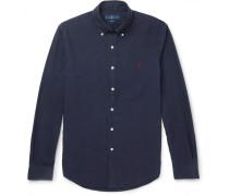 Slim-fit Button-down Collar Garment-dyed Cotton Oxford Shirt