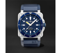 BR 03-92 Diver Automatic 42mm Stainless Steel and Rubber Watch, Ref. No. BR0392-D-BU-ST/SRB