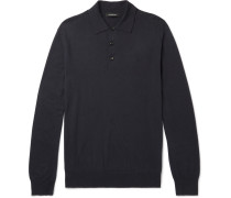 Cotton And Cashmere-blend Polo Shirt - Navy