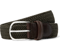 3.5cm Green Leather-trimmed Woven Elastic Belt