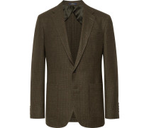 Army-green Morgan Slim-fit Houndstooth Wool And Linen-blend Blazer - Green