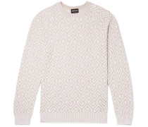 Jacquard-knit Sweater - Beige