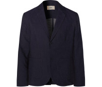Navy Unstructured Slub Cotton-Blend Blazer