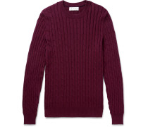 Cable-knit Cotton Sweater - Burgundy