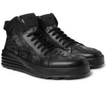 Leather and Camouflage-Print Mesh High-Top Sneakers