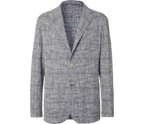 Unstructured Prince Of Wales Checked Stretch Cotton-blend Blazer