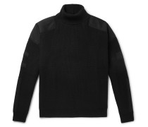 Twill-Trimmed Wool and Cashmere-Blend Rollneck Sweater