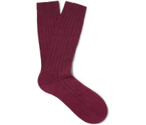 Ribbed Cashmere-blend Socks - Burgundy