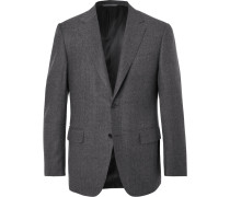 Grey Slim-fit Puppytooth Super 120s Wool Suit Jacket - Gray