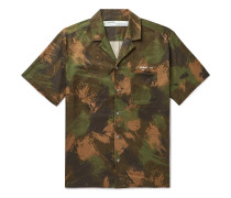 Camp-Collar Camouflage-Print Cotton Shirt