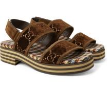 Suede-trimmed Logo-embroidered Velvet Sandals