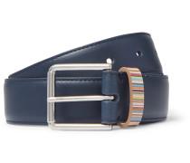 3cm Navy Stripe-Trimmed Leather Belt