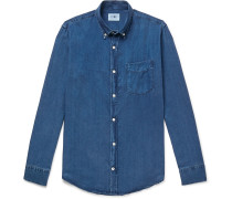 Levon Button-Down Collar Indigo-Dyed Tencel Shirt