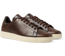 Burnished-leather Sneakers - Brown
