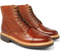 Joseph Cap-toe Burnished-leather Boots - Brown