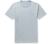 Striped Indigo-Dyed Cotton-Jersey T-Shirt