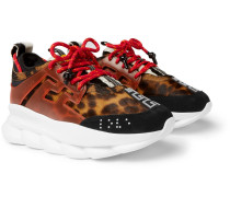 Chain Reaction Panelled Calf Hair, Rubber And Suede Sneakers - Brown