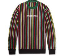 Oversized Distressed Logo-intarsia Virgin Wool-blend Sweater