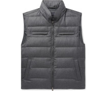Quilted Wool Hooded Down Gilet - Gray