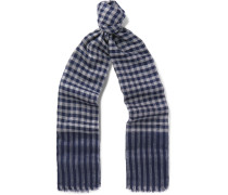 Fringed Checked Cashmere Scarf - Navy