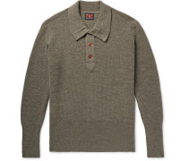 Ribbed Merino Wool Half-placket Sweater - Green