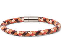 Woven Leather And Silver-tone Bracelet - Brown