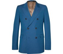 Cobalt Double-breasted Wool And Mohair-blend Suit Jacket