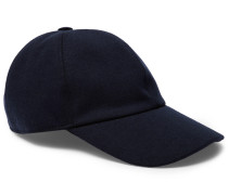Embroidered Cashmere, Cotton And Silk-blend Baseball Cap - Navy