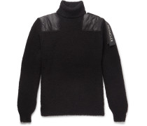 Shell-panelled Wool-blend Bouclé Rollneck Sweater - Black