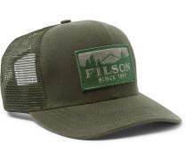 Logger Logo-appliquéd Cotton-twill And Mesh Baseball Cap - Green