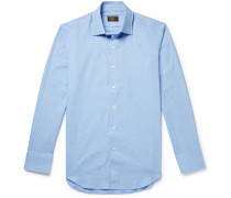 Mélange Brushed-cotton Shirt - Blue