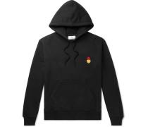 + The Smiley Company Slim-fit Logo-appliquéd Loopback Cotton-jersey Hoodie - Black