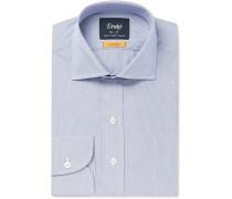Blue Easyday Cutaway-collar Striped Cotton Shirt - Blue